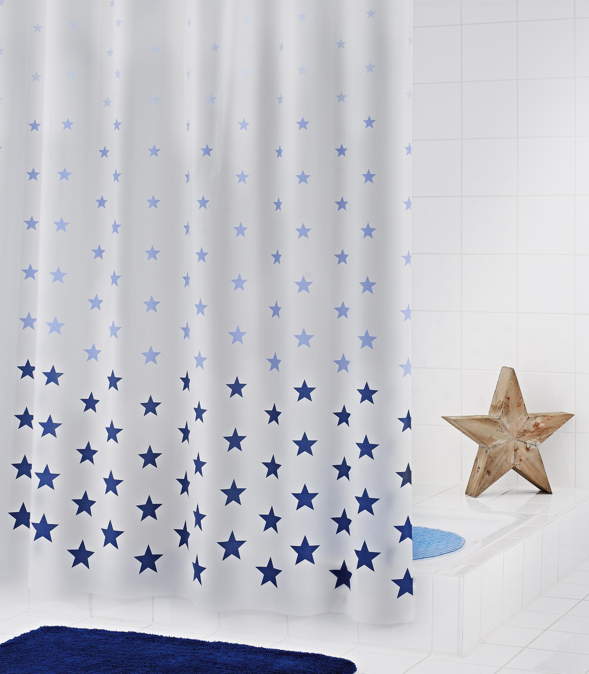 RIDDER Duschvorhang Folie Stella 180x200 cm blau Folienvorhang Plastikvorhang